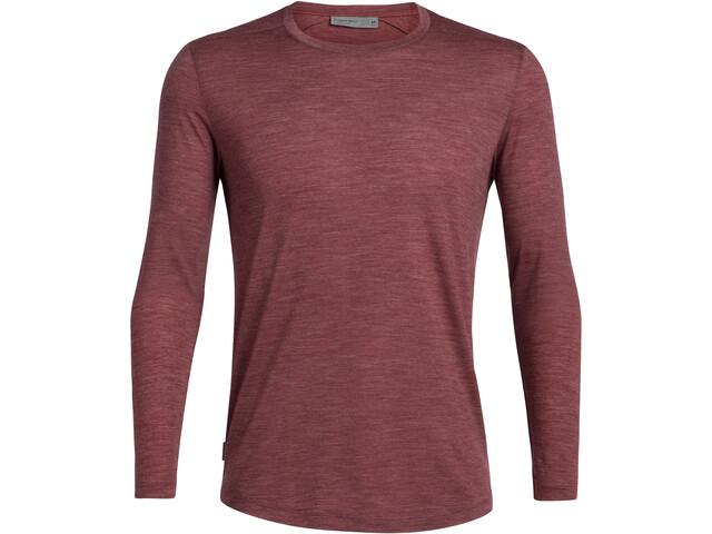 Icebreaker Sphere T-shirt manches longues à Col ras-du-cou Homme, cabernet heather